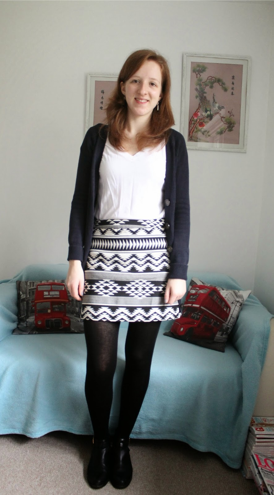OOTD Aztec Mini Skirt and White V-Neck Shirt