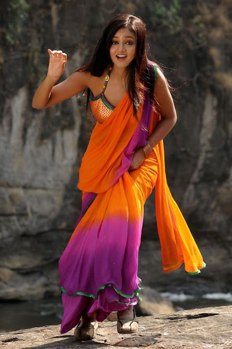 shanvi spicy galley in saree cute stills