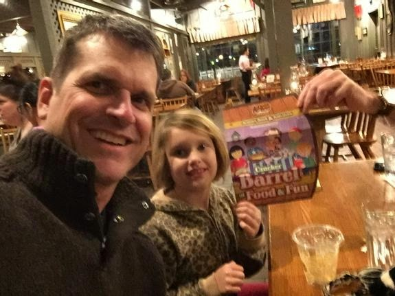 Jim Harbaugh claims Cracker Barrel for Michigan.