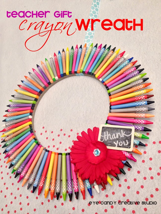 teacher gift, crayons, teacher appreciation gift idea, easy crayon wreath