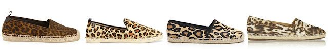 One of these pairs of leopard espadrilles is from Saint Laurent for $475 and the other three are under $72. Can you guess which ones are the more expensive pair? Click the links below to see if you are correct!