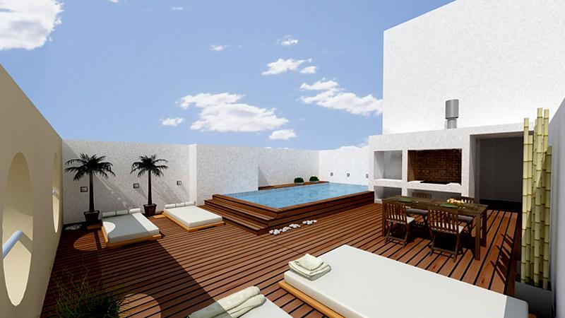 Terraza con piscina guia de jardin for Cuanto cuesta una casa con alberca