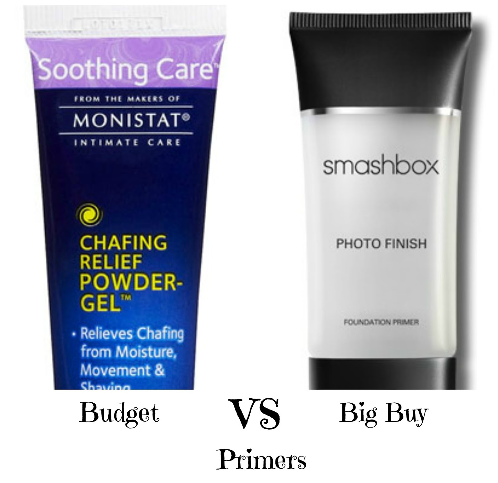 Mad Makeup Love Budget Vs Big Buy Facial Primers Monistat Chafing Relief Powder Gel You Guys Saw This Photo In My Last Post Where I Said That Wearing A Primer Is One Of 5 Rules Thumb For Smashbox
