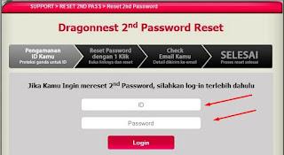 Cara Ganti dan Reset 2nd (Second) Password DragonNest Melalui Website