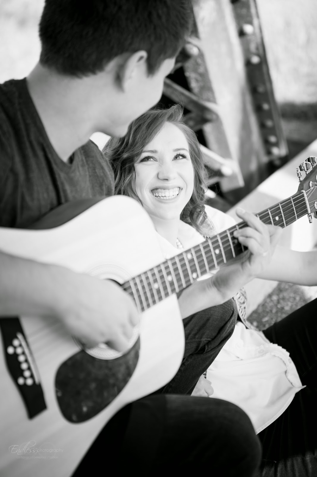 Logan Wedding Photographer Engagements Couples Adorable Cute Guitar Bridge Field