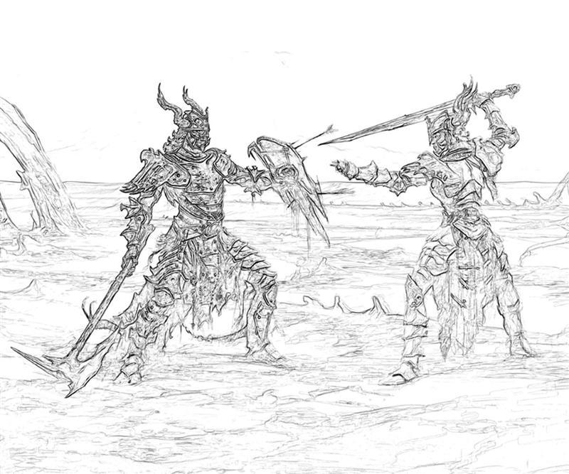 printable-elder-scrolls5-skyrim-warriors-coloring-pages