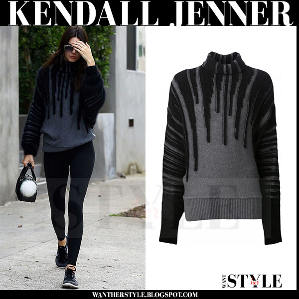 Kendall Jenner in grey dripping viktor and rolf sweater and black leggingsnike flyknit sneakers what she wore