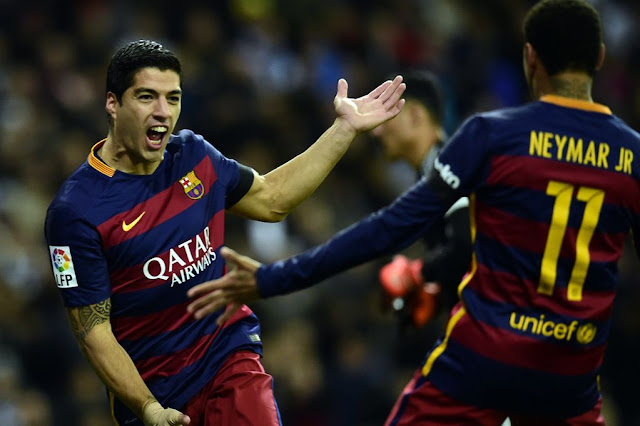 Quite the pair: Suarez and Neymar celebrate
