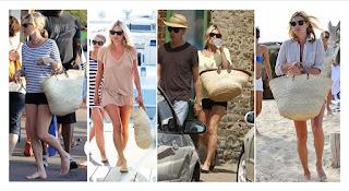 Kate Moss con una cesta de palma