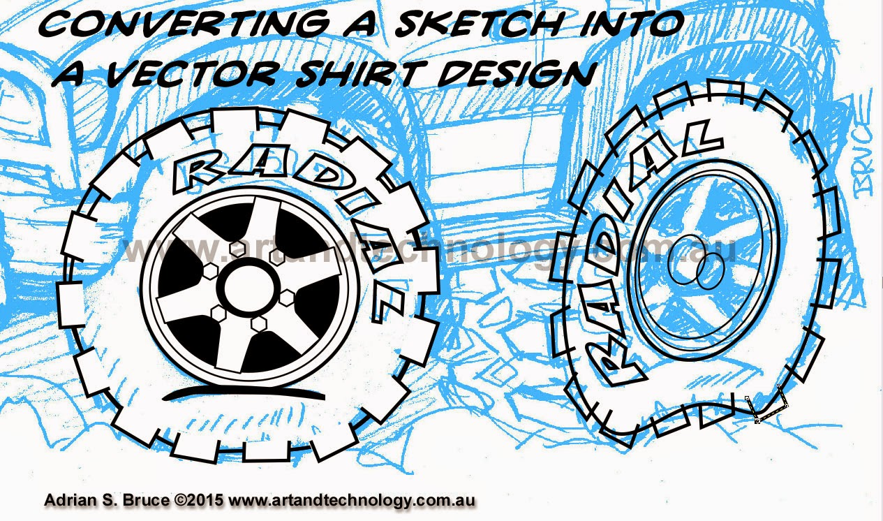 Shirt design and colour - Here Are A Couple Of Work In Progress Images Of Going From A Sketch To A Vector Cartoon Image