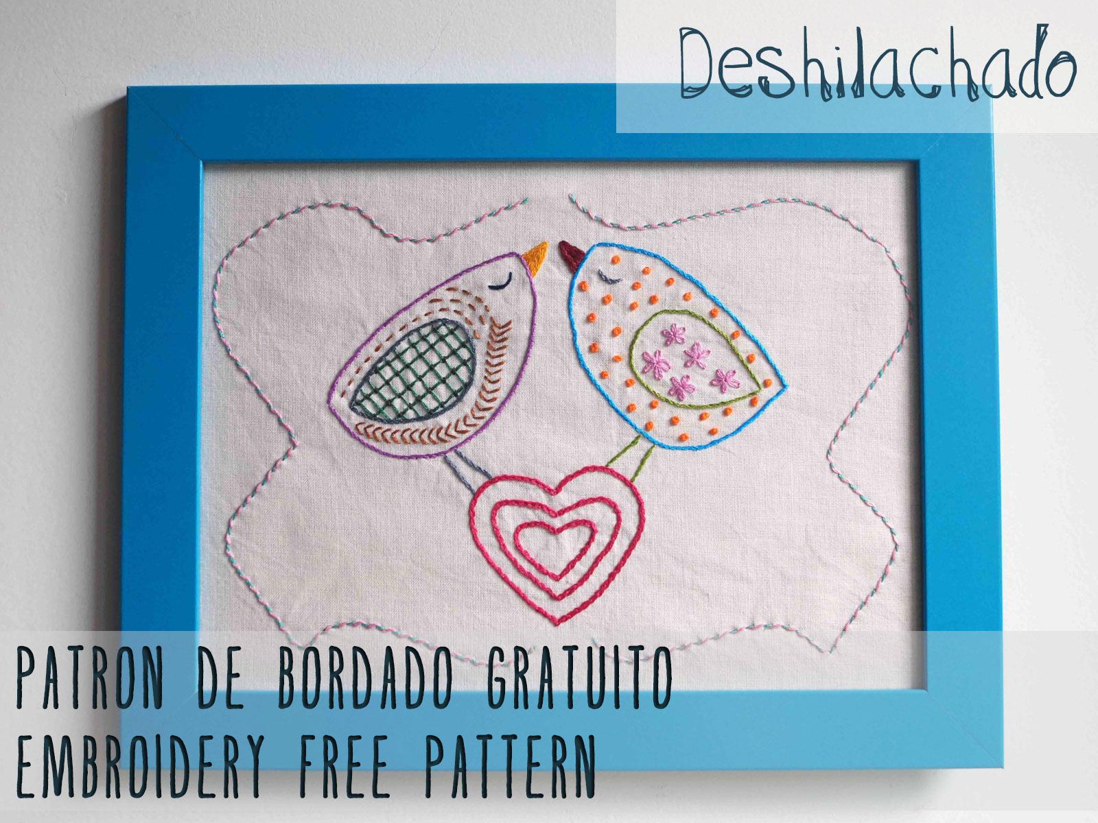 Deshilachado: Patrón de bordado gratuito: pájaros con corazón / Free ...