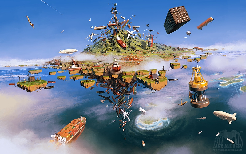 02-Island-of-Lost-Ships-Alex-Andreev-Surreal-Worlds-of-Trailing-Gardens-Illustrations