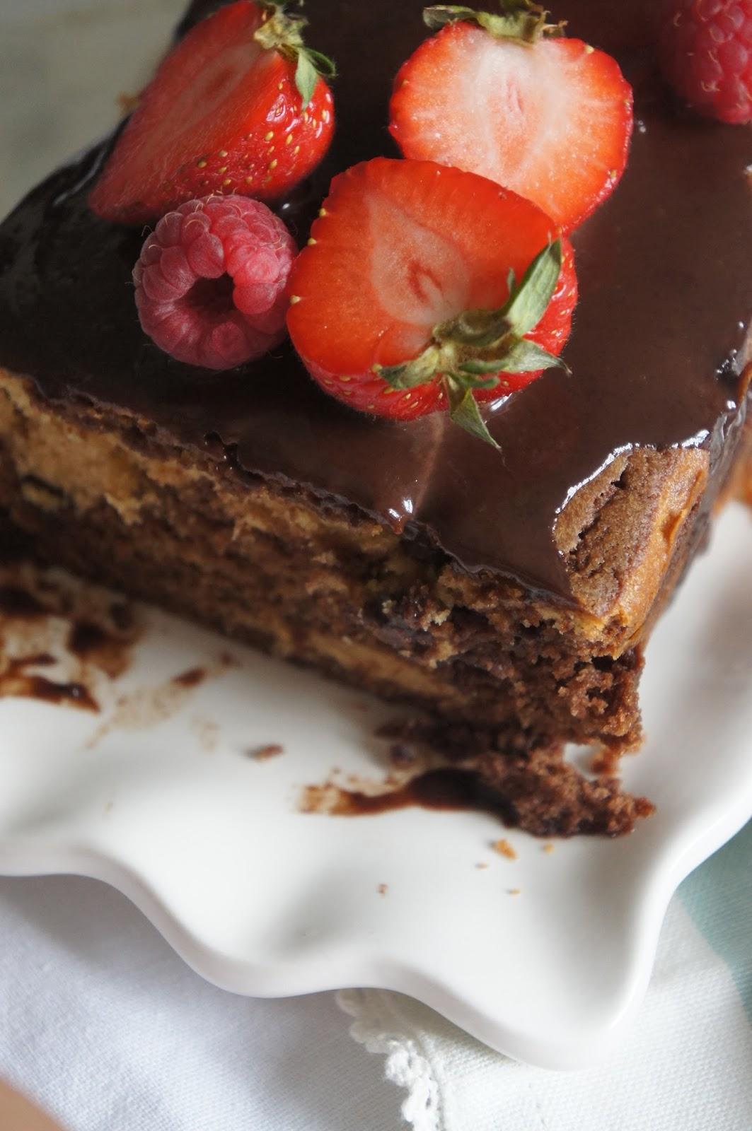 Kuchen mit erdnussbutter und nutella