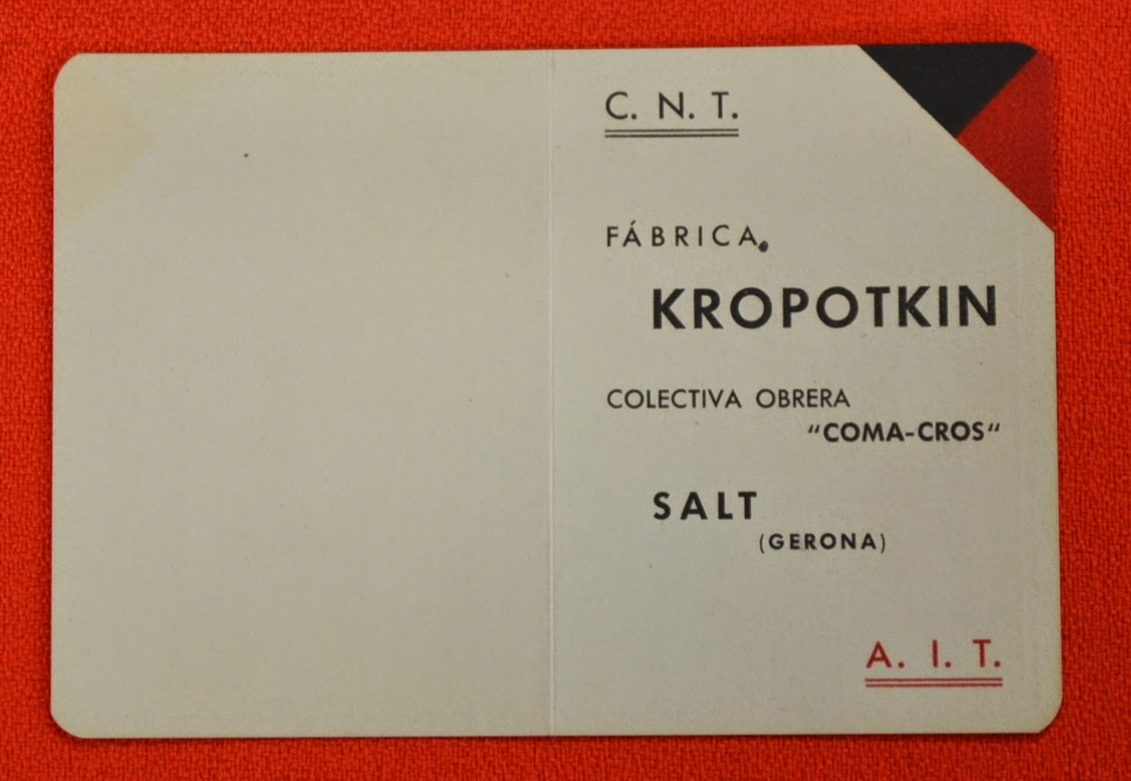"La ""Fàbrica Kropotkin Col·lectiva Obrera Coma-Cros (CNT-AIT)"" a Salt"