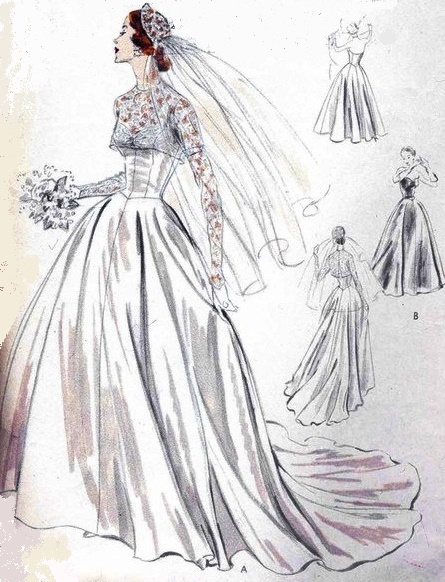 The wedding blog designer so vintage patterns for Wedding dress patterns vintage