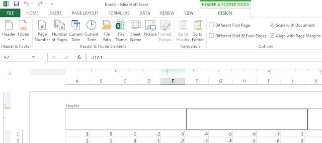 Excel header