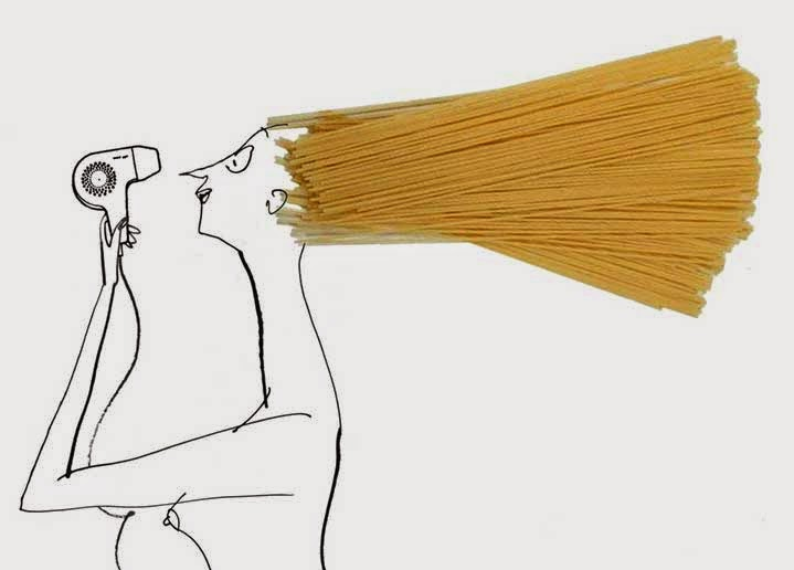 woman blow drying spaghetti hair illustration by Jeeves