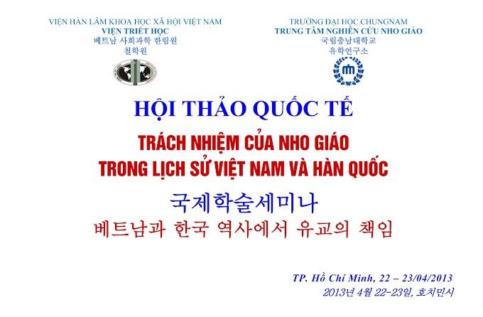 """Hội thảo khoa học quốc tế: """"Trách nhiệm của Nho giáo trong lịch sử Việt Nam và Hàn Quốc"""" (22-23/04/2013)"""