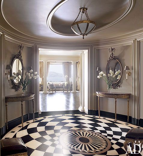 Black And White Marble Floors Designs For Round Living Room