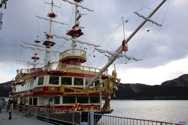 Heading onto the pirate ship shaped Hakone Sightseeing Cruise at Lake Ashinoko in Japan