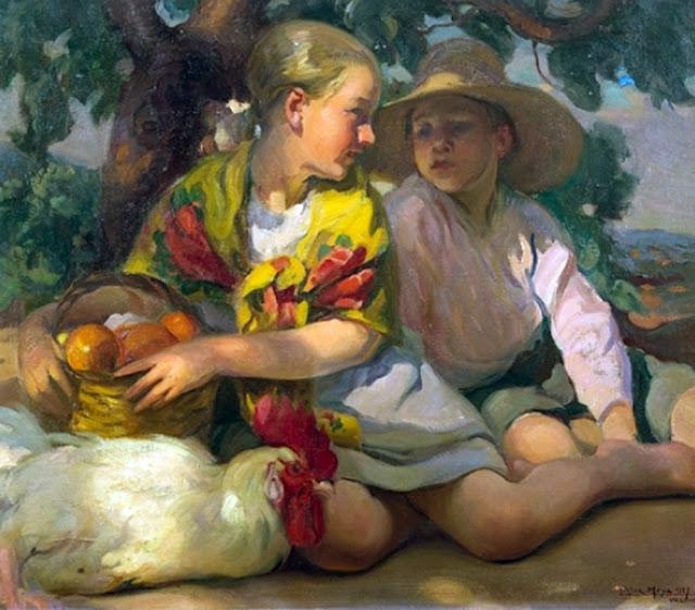 Dos niños, Victor Moya Calvo, Pintor español, Pintores Valencianos