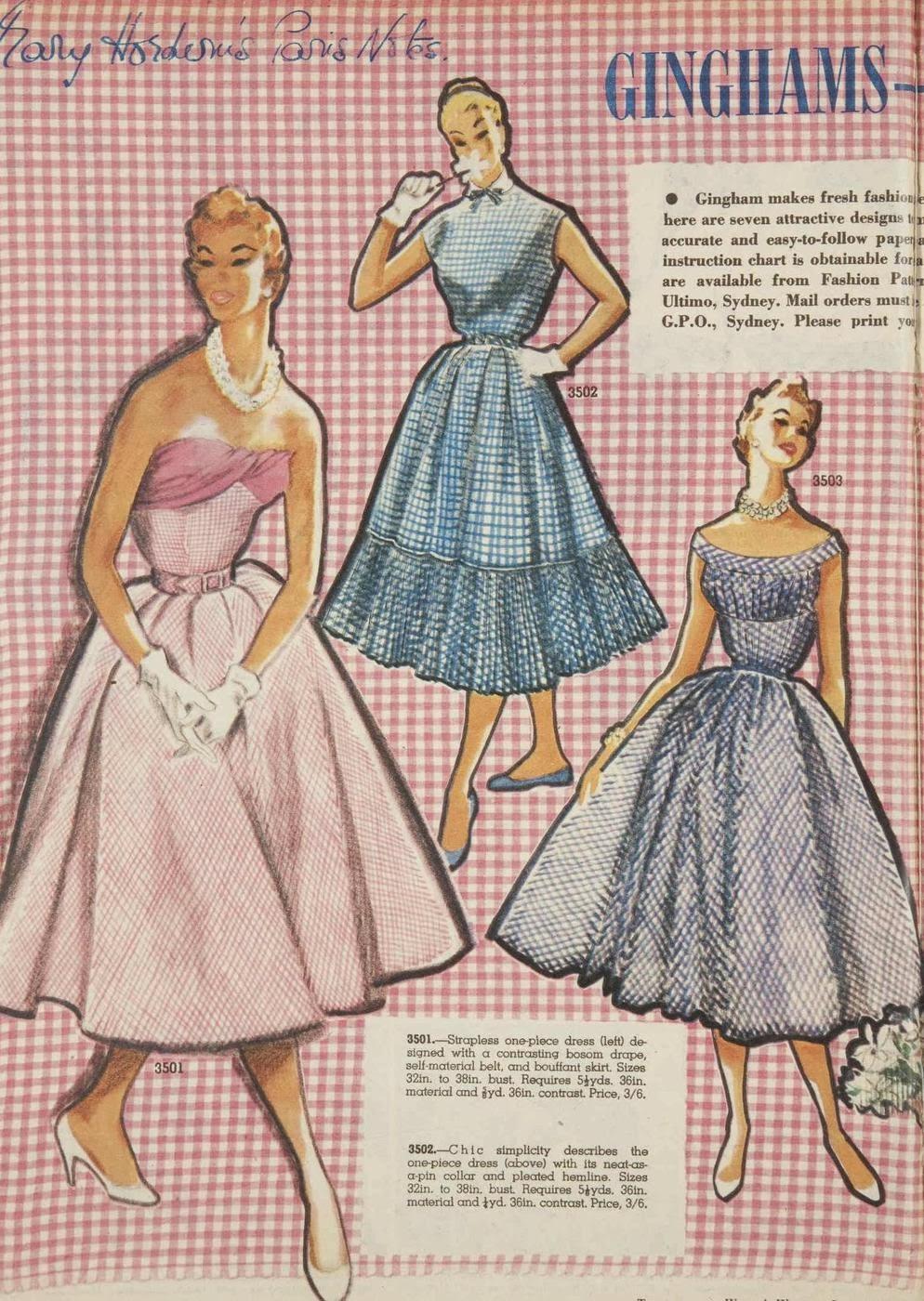 glamorous gingham fashion, 1950s