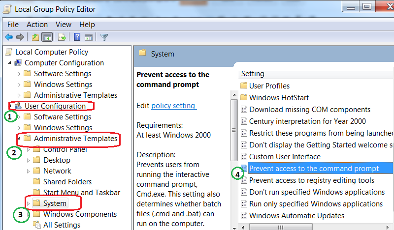 now on the local group policy editor windows navigate user configuration administrative templates system then on the right pane double click on