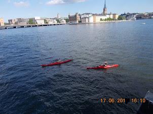 Kayaking on lake Malarens in Stockholm.