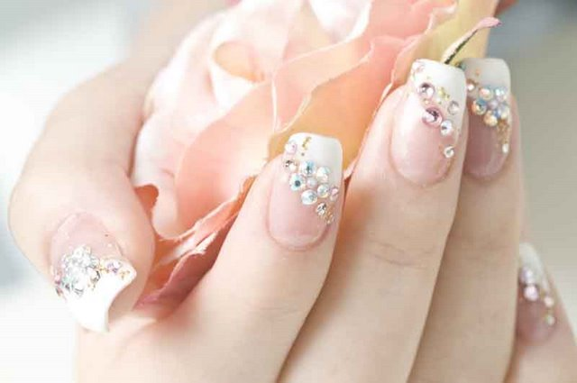 Rhinestone Nail Designs For Function - Best Of Nail Art: Cute French Nail Manicure Design