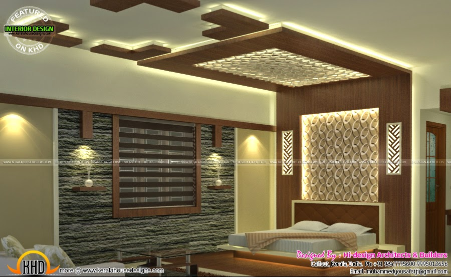 Sitting bedroom and dining interiors kerala home design for Dining hall wall design