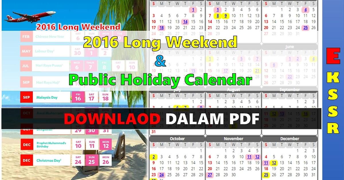 Mykssr.com: 2016 Long Weekend & Public Holiday Calendar
