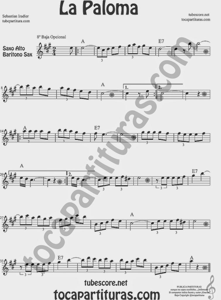 La Paloma Partitura de Saxofón Alto y Sax Barítono Sheet Music for Alto and Baritone Saxophone Music Scores Sebastian Iradier