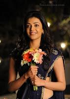 Kajal Very fair and lovely in Blue saree.JPG
