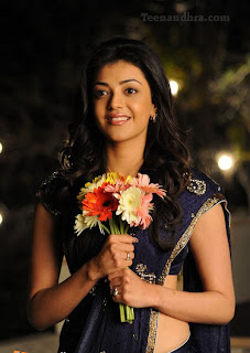 Kajal Very fair and lovely in Blue saree.JPG