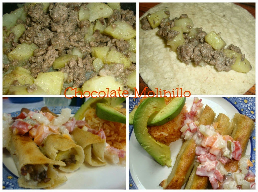 Tacos dorados de picadillo y papas