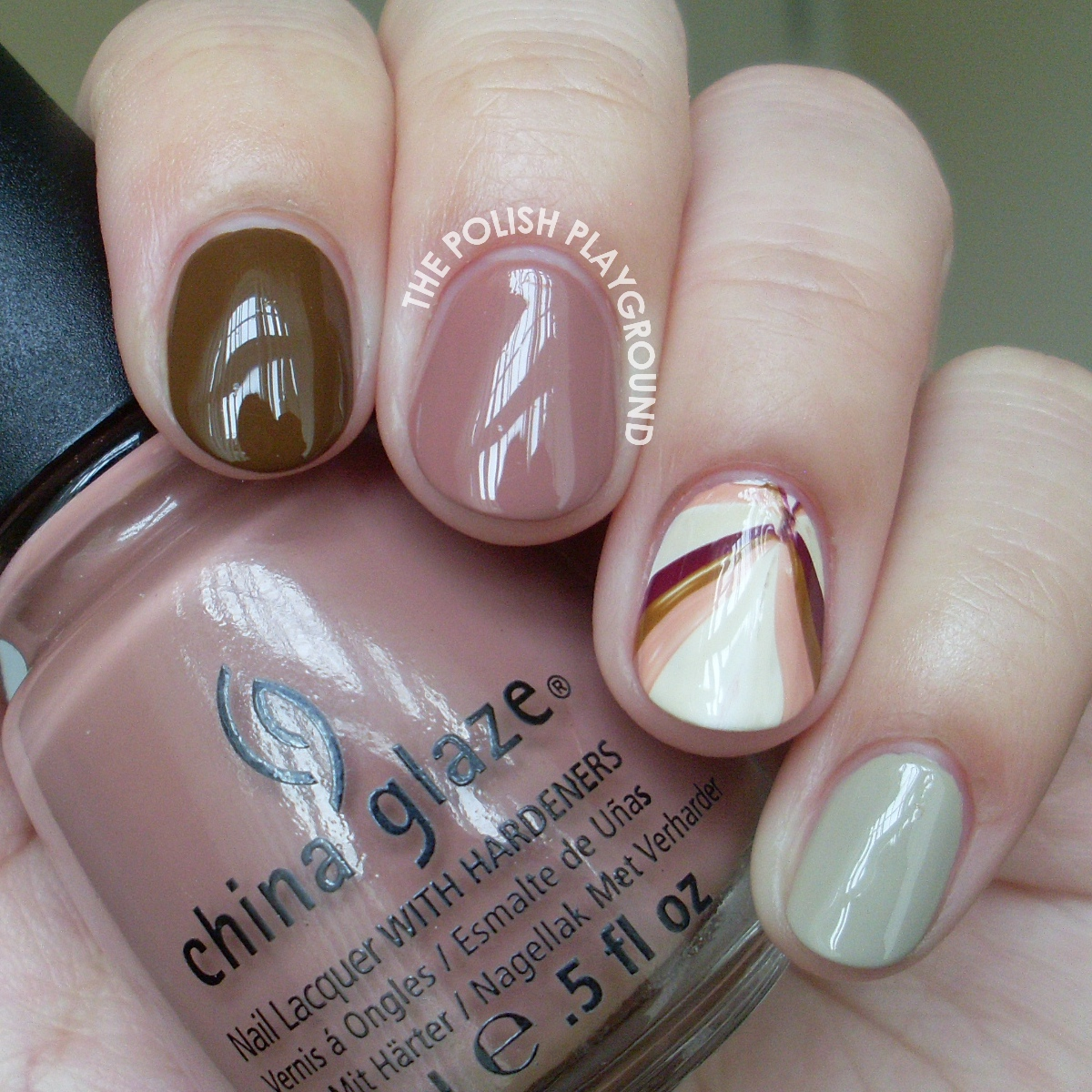 Fall Inspired Skittle with Water Marble Accent Nail Art