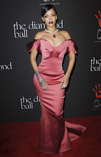Rihana in Sexy Full length Gown with Deep neck hot Cleavages boobs exposed at her 1st Annual Diamond Ball benefit