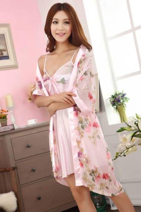 gambar Baju Tidur Kimono SL1143 Flower Brown