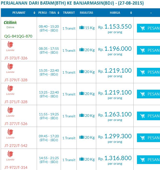 Harga Tiket Pesawat Perjalanan Dari Batam Ke Banjarmasin