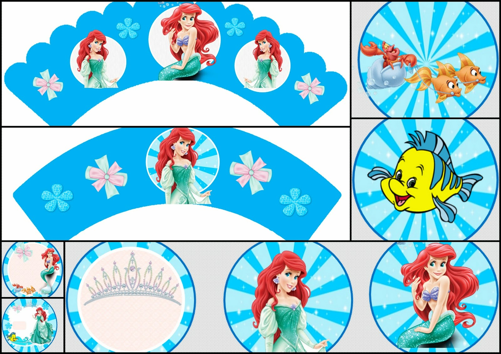 The Little Mermaid: Free Printable Toppers and Wrappers.
