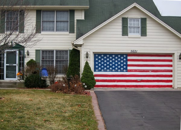american flag painted on a garage