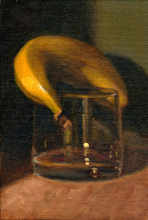 Oil painting of a banana resting on top of an old fashioned glass.