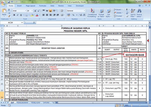 Aplikasi SKP Guru Golongan IV dan Tabel Angka Kredit Format Microsoft Excel
