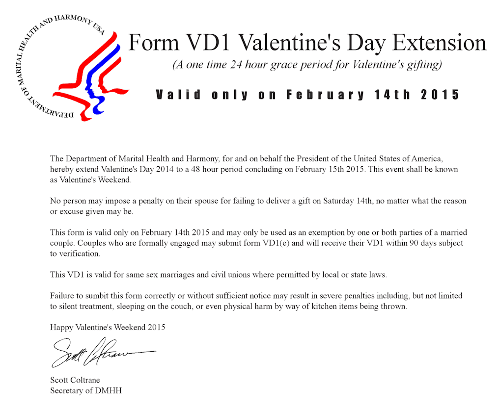 Form VD1 Valentine's Day extension