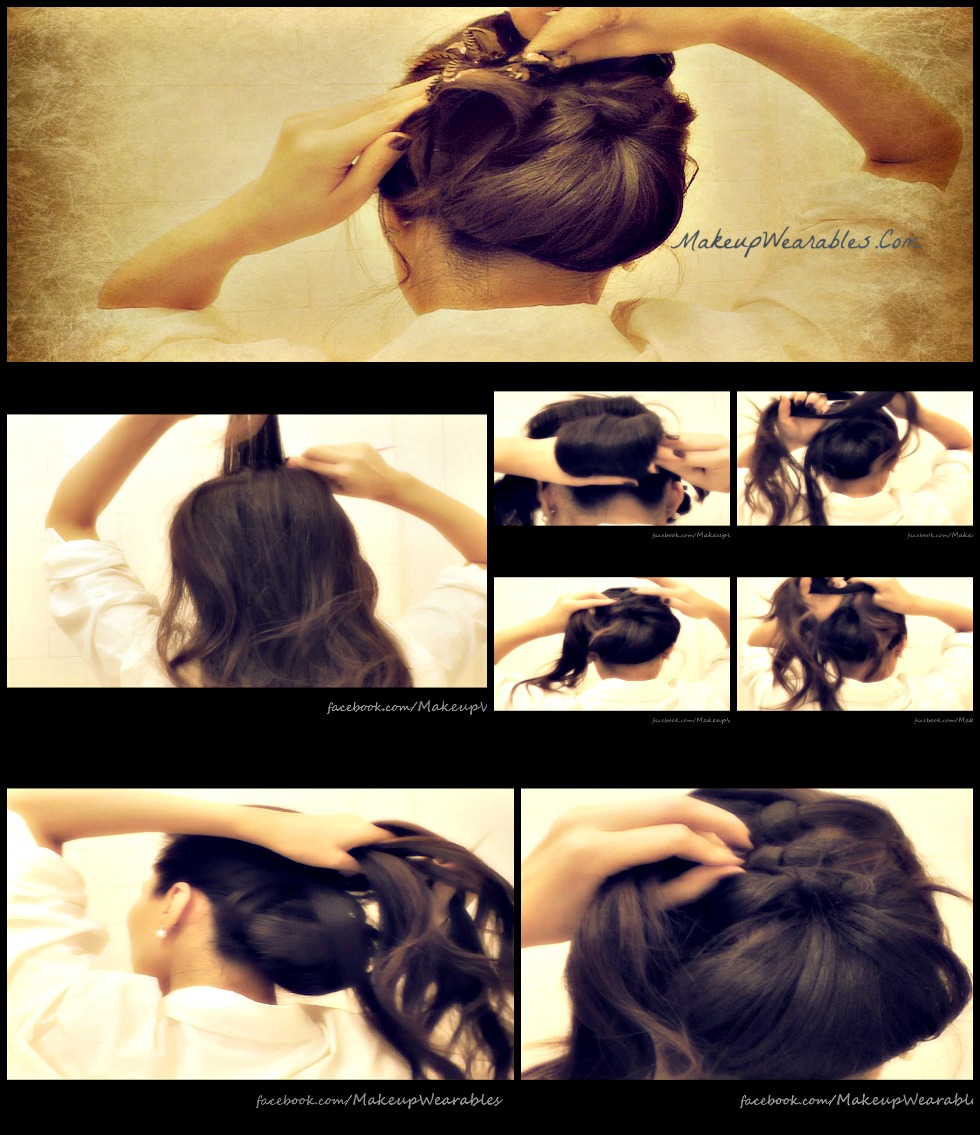 step-by-step hair tutorial - how to do a voluminous bun/chignon updo hairstyle for formal occasion - wedding, prom, homecoming, holidays for medium long hair
