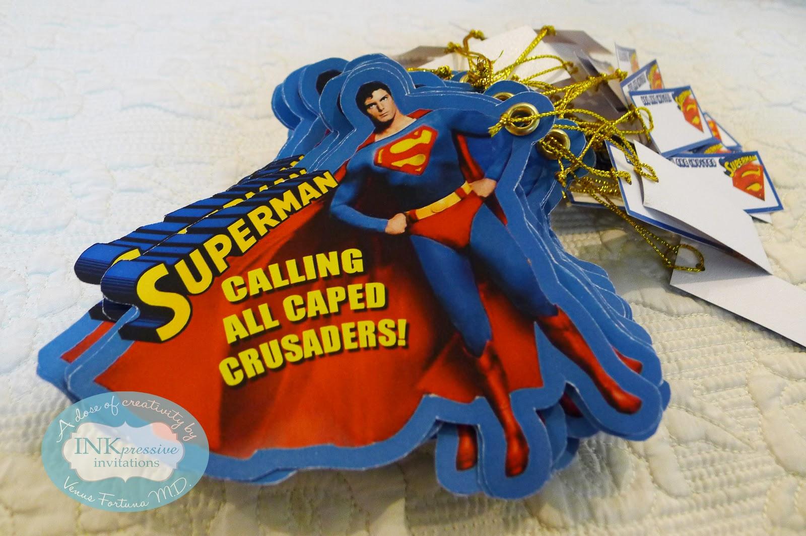 Superman Theme Birthday Invitation INKPRESSIVE INVITATIONS