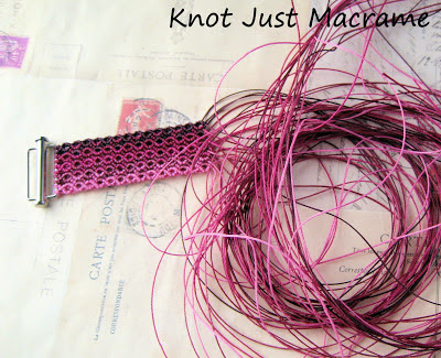 Micro macrame bracelet in progress by Sherri Stokey