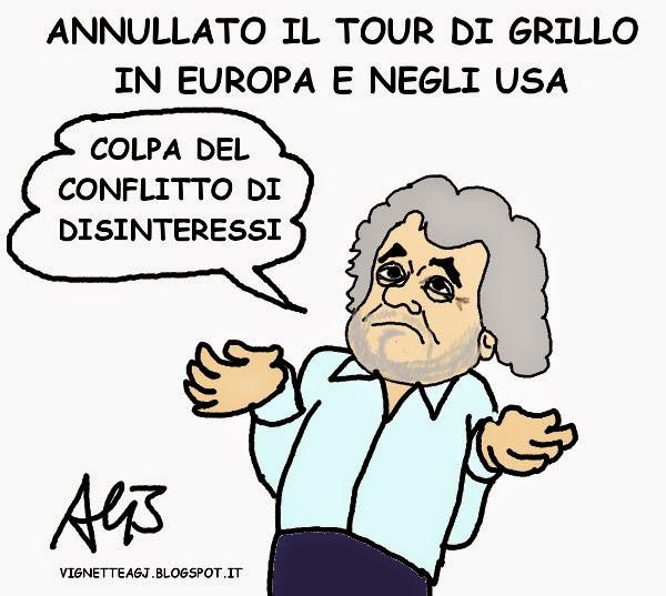 beppe grillo, rabdomante tour, satira , vignetta
