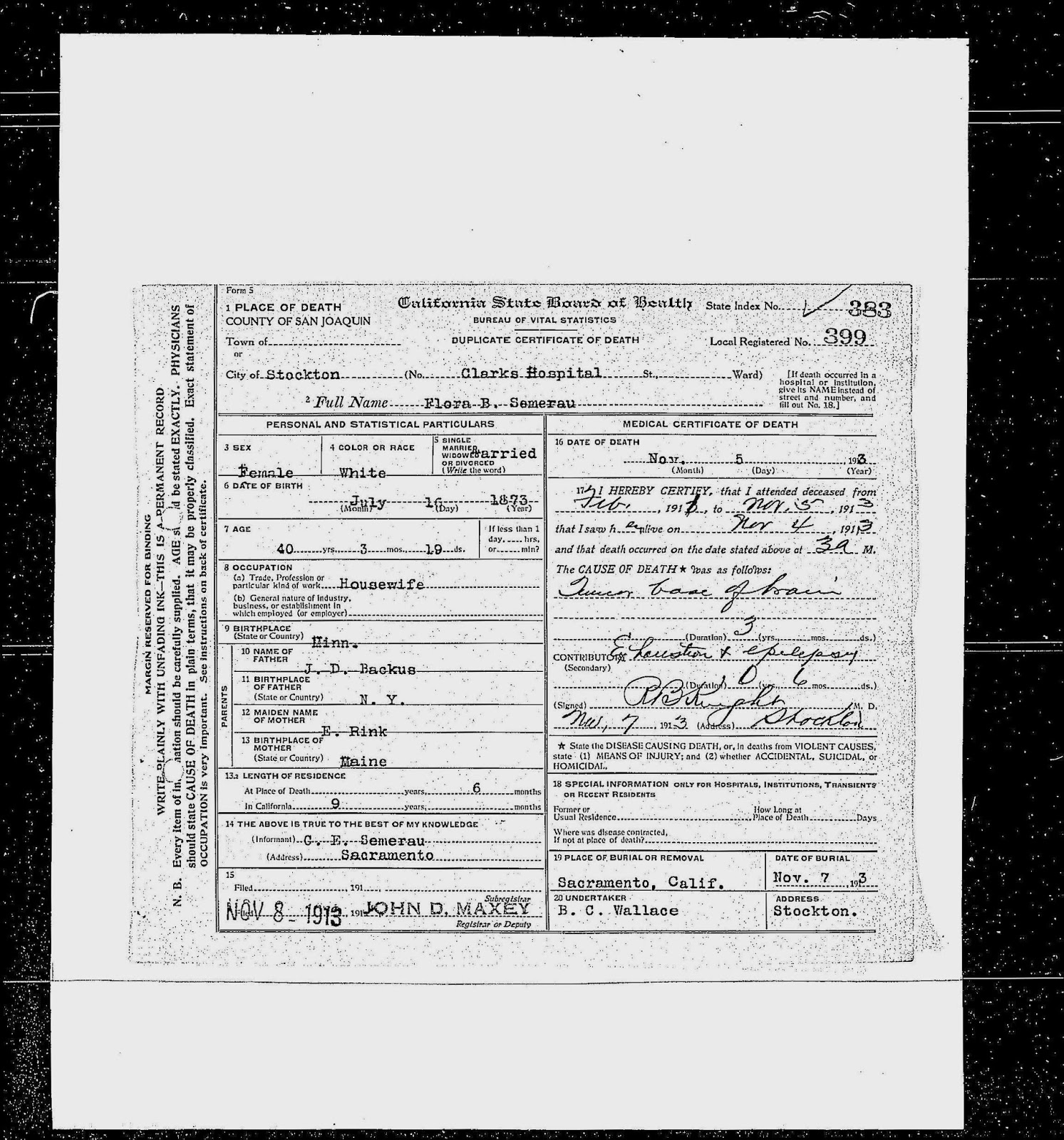 The Death Certificate Of Flora Backus The Buttermaker And The Midwife