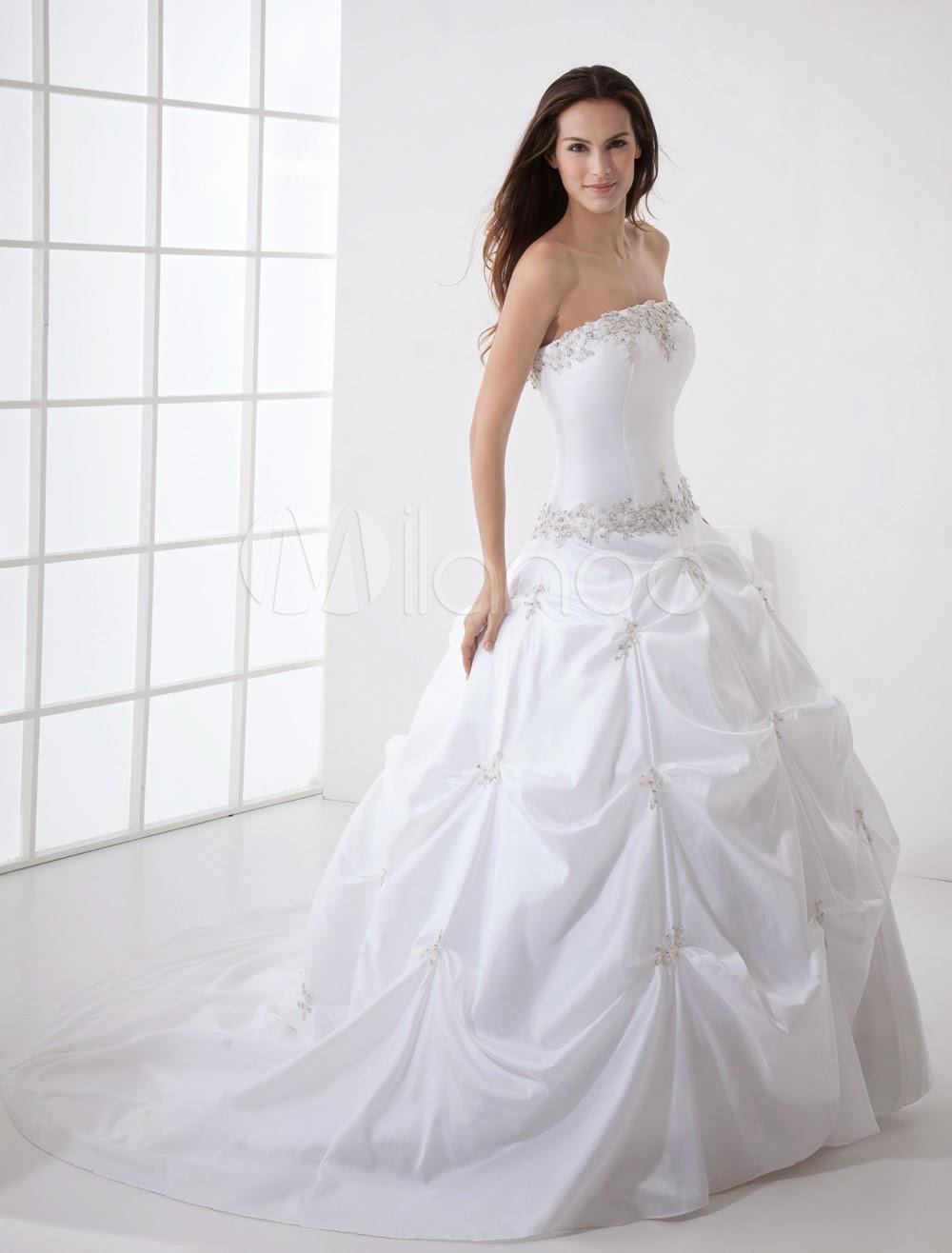 China Wholesale Dresses - Ball Gown Strapless Beading Taffeta Wedding Dress
